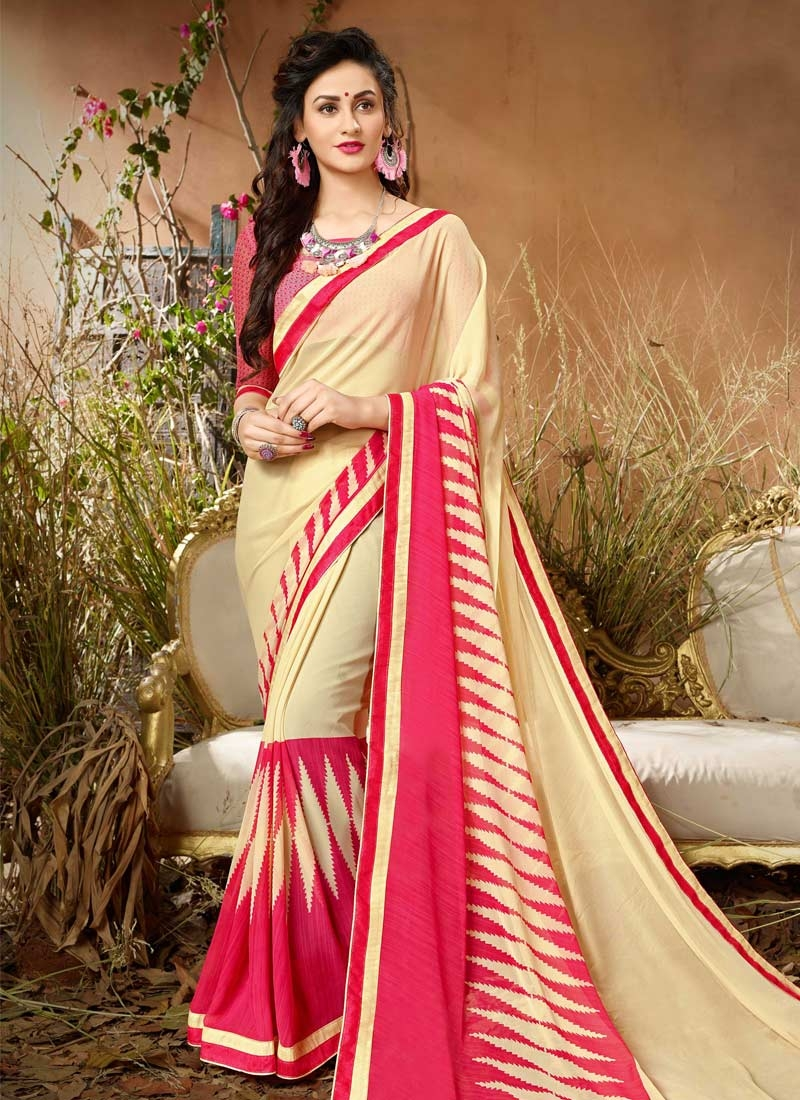 Cream and Rose Pink Lace Work Contemporary Style Saree