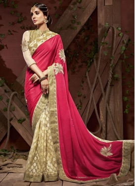 Cream and Rose Pink Lace Work Half N Half Saree