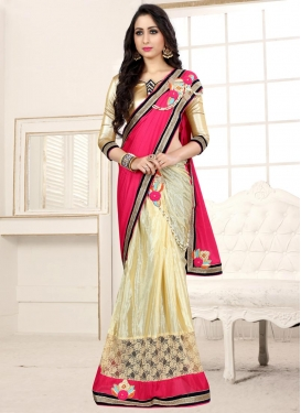 Cream and Rose Pink Lace Work Half N Half Trendy Saree