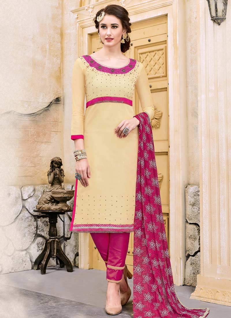 Cream and Rose Pink Pant Style Classic Salwar Suit