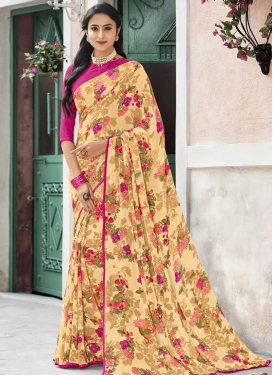 Cream and Rose Pink Print Work Designer Contemporary Style Saree