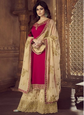 Cream and Rose Pink Shamita Shetty Palazzo Style Pakistani Salwar Suit For Ceremonial