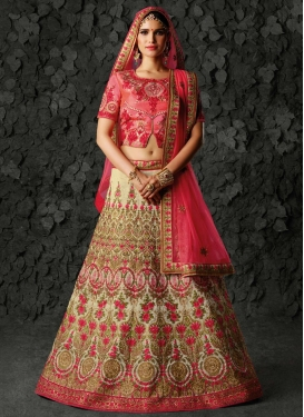 Cream and Rose Pink Silk Designer Classic Lehenga Choli