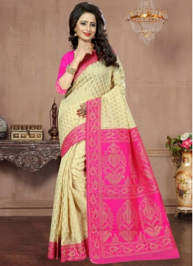 Cream and Rose Pink Thread Work  Contemporary Saree