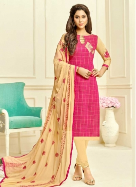 Cream and Rose Pink Trendy Churidar Salwar Kameez For Casual