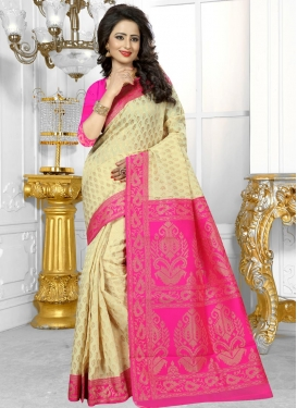 Cream and Rose Pink Trendy Classic Saree