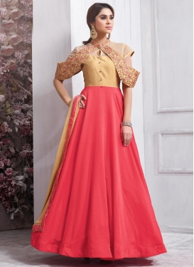 Cream and Rose Pink Trendy Designer Salwar Kameez