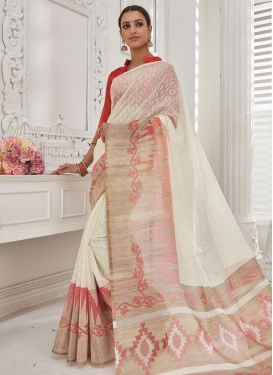 Cream and Salmon Brasso Georgette Contemporary Saree For Festival