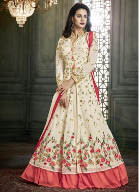Cream and Salmon Designer Kameez Style Lehenga