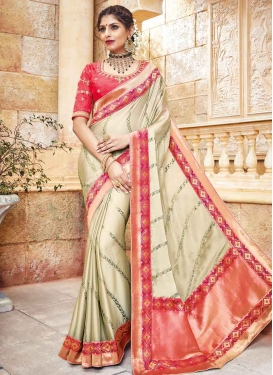Cream and Salmon Lace Work Contemporary Style Saree