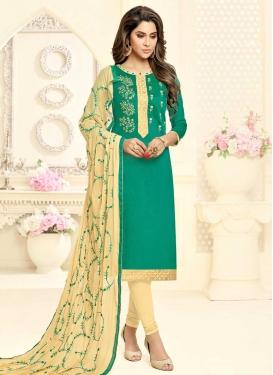 Cream and Sea Green Churidar Salwar Suit For Casual