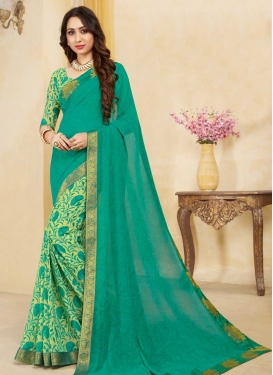 Cream and Sea Green Digital Print Work Half N Half Designer Saree