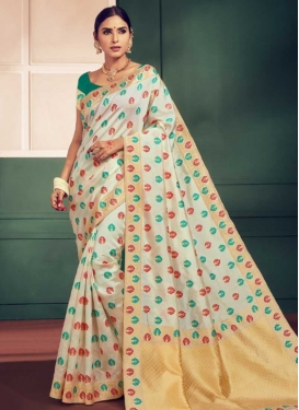 Cream and Sea Green Thread Work Trendy Classic Saree