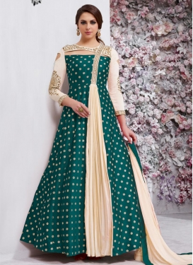 Cream and Teal Embroidered Work Trendy Designer Salwar Suit