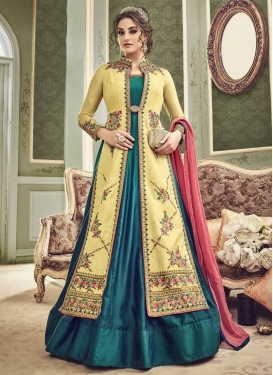 Cream and Teal Jacket Style Anarkali Suit For Ceremonial