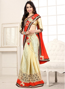 Cream and Tomato Half N Half Saree