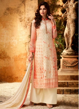Cream and Tomato Palazzo Style Pakistani Salwar Suit For Party