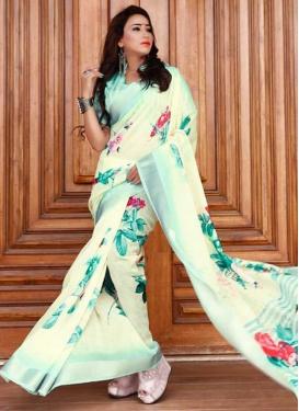 Cream and Turquoise Linen Designer Contemporary Style Saree