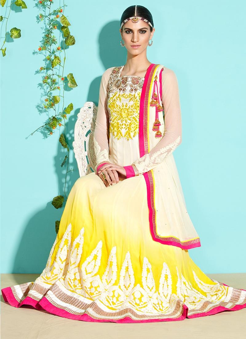 Cream And Yellow Color Anarkali Salwar Kameez