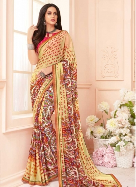 Cream and Yellow Digital Print Work Faux Georgette Designer Contemporary Style Saree