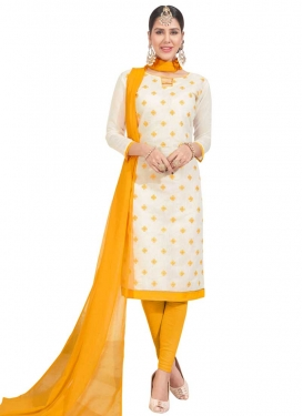 Cream and Yellow Embroidered Work Churidar Salwar Kameez