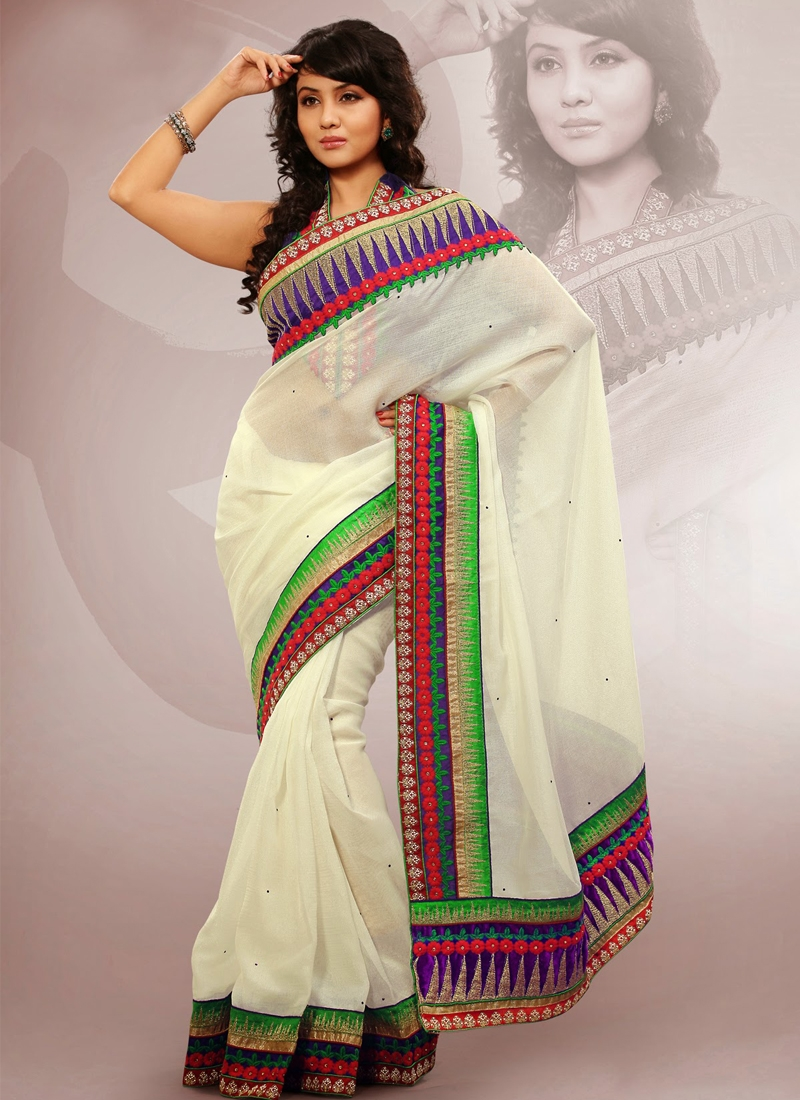 Cream Color Patch Work Party Wear Saree