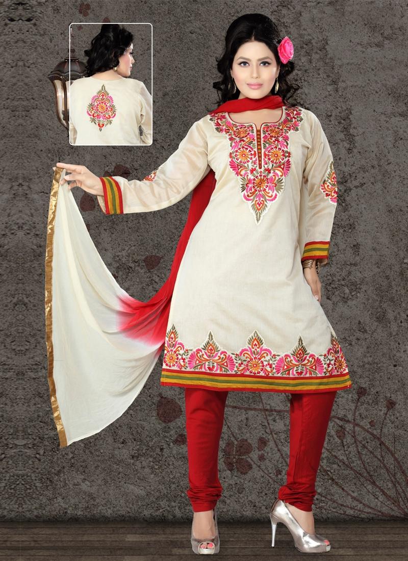 Cream Color Patch Work Readymade Salwar Kameez