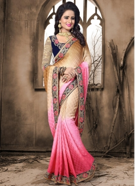 Crepe Jacquard Beige and Hot Pink Classic Saree