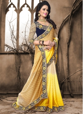Crepe Jacquard Beige and Yellow Traditional Designer Saree