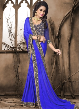 Crepe Jacquard Blue and Navy Blue Designer Contemporary Saree For Festival
