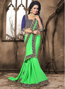 Crepe Jacquard Mint Green and Navy Blue Designer Traditional Saree For Ceremonial