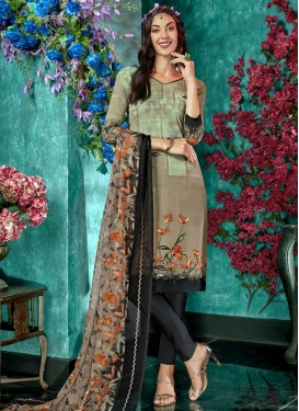 Crepe Silk Beige and Black Churidar Salwar Suit