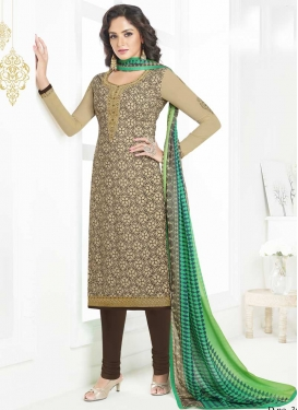 Crepe Silk Beige and Coffee Brown Embroidered Work Trendy Churidar Salwar Kameez