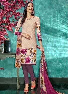 Crepe Silk Beige and Wine Digital Print Work Trendy Churidar Salwar Suit