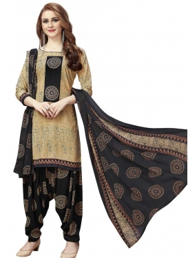 Crepe Silk Black and Cream Designer Semi Patiala Salwar Suit