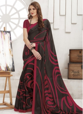 Crepe Silk Black and Crimson Traditional Saree For Casual