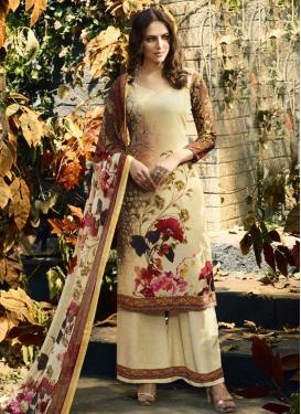 Crepe Silk Brown and Cream Digital Print Work Palazzo Style Pakistani Salwar Kameez