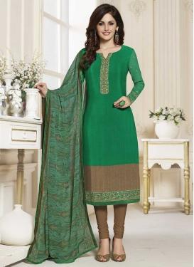 Crepe Silk Brown and Green Trendy Churidar Salwar Kameez