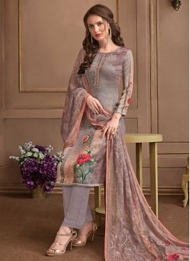 Crepe Silk Brown and Grey Pant Style Straight Salwar Suit