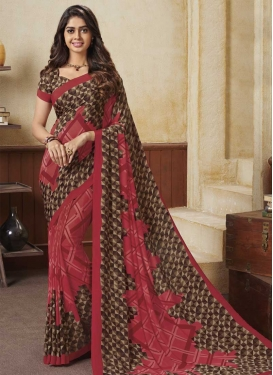 Crepe Silk Brown and Rose Pink Classic Saree