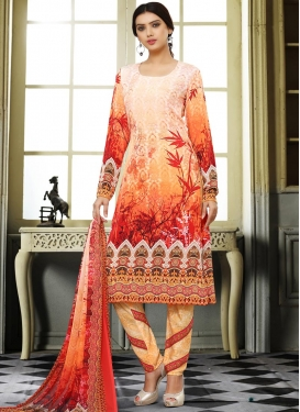 Crepe Silk Cream and Orange Pant Style Classic Suit