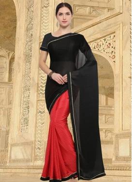 Crepe Silk Designer Half N Half Saree For Casual