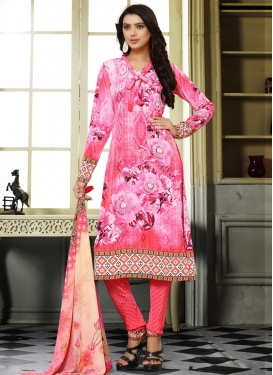 Crepe Silk Digital Print Work Churidar Salwar Kameez