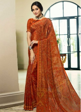 Crepe Silk Digital Print Work Designer Contemporary Saree
