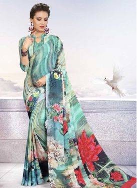 Crepe Silk Digital Print Work Designer Contemporary Style Saree