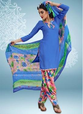 Crepe Silk Digital Print Work Designer Patiala Salwar Kameez