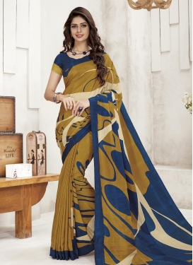 Crepe Silk Digital Print Work Mustard and Navy Blue Classic Saree