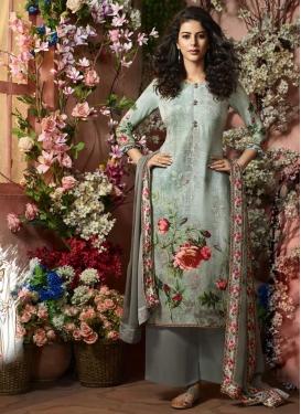 Crepe Silk Digital Print Work Palazzo Style Pakistani Salwar Suit