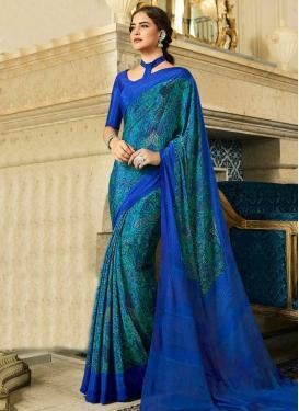 Crepe Silk Digital Print Work Traditional Designer Saree