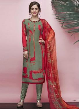 Crepe Silk Digital Print Work Trendy Churidar Salwar Suit